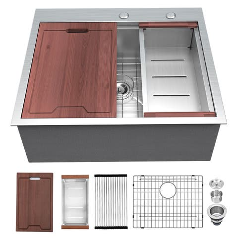 "Lordear 25"" x 22"" Workstation Kitchen Sink Drop In Topmount 16 Gauge Stainless Steel Sink - 25"" x 22"" x 10"""