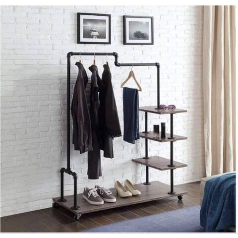 "Davee Furniture display storage cloth rack with 4 wood shelves and metal frame - 45.3"" x 17.1"" x 57.5"