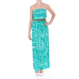 Trixxi Womens Juniors Printed Strapless Maxi Dress