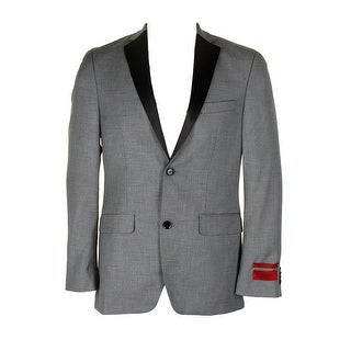 Alfani Mens Black White Slim-Fit Slim-Fit Single Breasted Notched Lapel Blazer - 36r