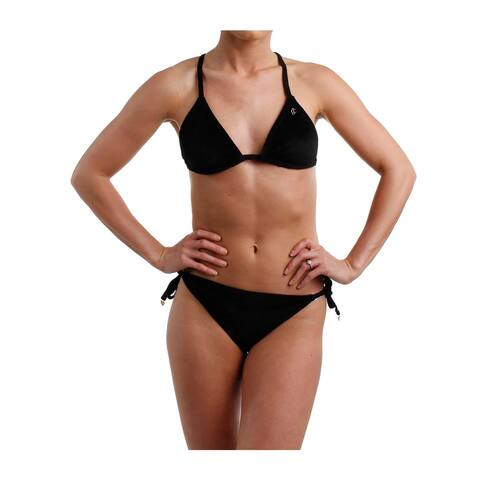 Juicy Couture Black Label Womens Velour Logo Bikini Swimsuit Black M