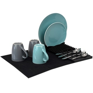 Link to Plastic Dish Drying Rack with Buttoned Micro Fiber Drying Mat, Black Similar Items in Kitchen Storage