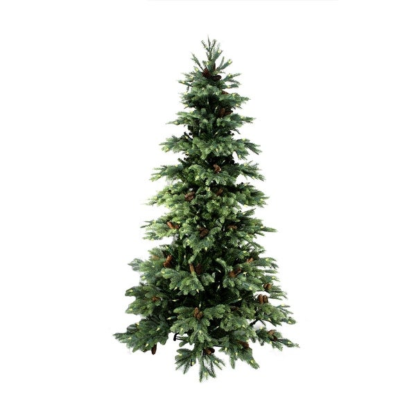 10' Pre-lit New England Pine Medium Artificial Christmas Tree with Pine Cones - Clear Lights - green