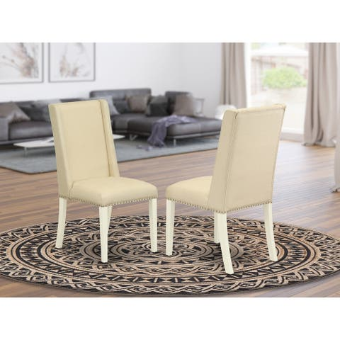 East West Furniture FLP2T01 Dining Chair - Cream Color Linen Fabric Seat and Linen White Solid Wood Dining Chairs Set of Two