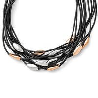 Chisel Stainless Steel Polished Pink IP-plated Black Rubber with 1in. ext. Necklace  - 17.5 in
