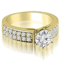 1.60 cttw. 14K Yellow Gold Cathedral Style Two Row Round Diamond Engagement Ring