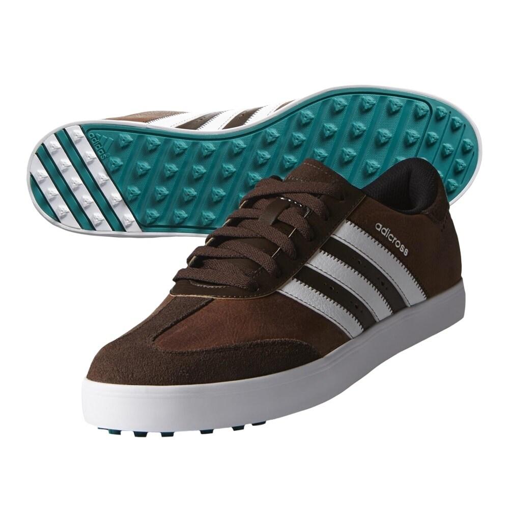 Adidas Men's Adicross V Brown/White/Eqt. Green Golf Shoes F33393/F33428 (Medium Width)