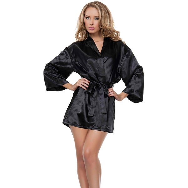 Black Shipping Set On And Chemise Shop Robe Free Orders Satin wv0XxIqB