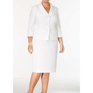 Le Suit NEW White Jacquard Three-Button Career 22W Plus Skirt Suit Set