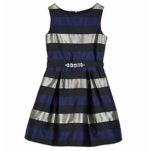 Amy Byer Girls Dresses Deep Blue Size 10 Embellished Striped Pleated