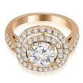 1.10 cttw. 14K Rose Gold Double Halo Round Cut Diamond Engagement Ring - Thumbnail 0