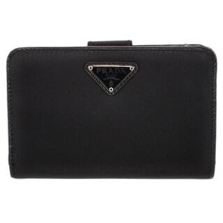 """Prada Women's 1ML225 UZO Black Nylon Tessuto Lampo French Wallet - 5.5"""" x 3.75"""""""