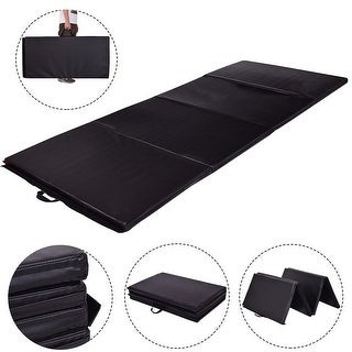 Gymax 4'x8'x2' Gymnastics Mat Thick Folding Panel Exercise Mat Black