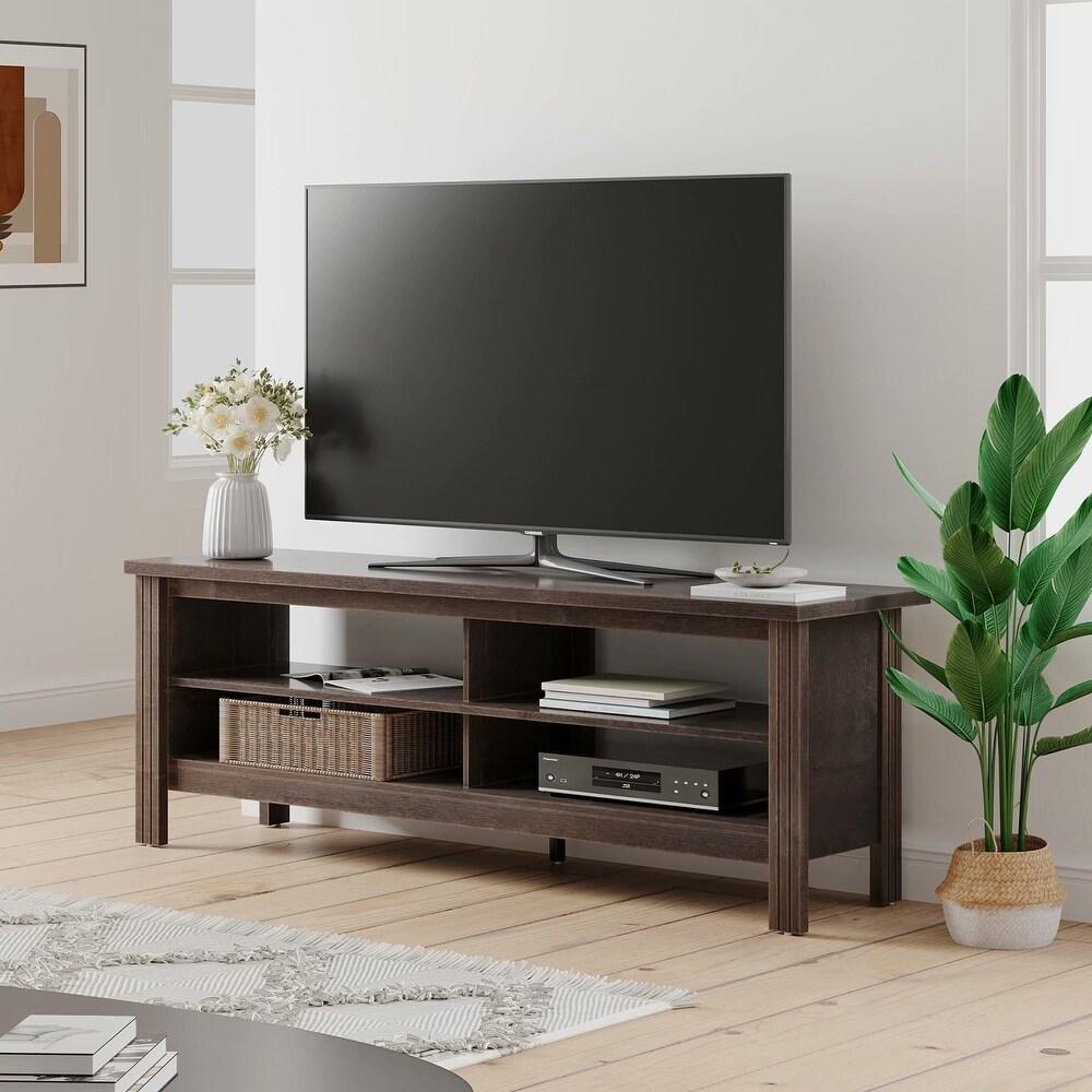 """Espresso Farmhouse TV Stand Console Entertainment Center (59 inch) - 59"""""""" (59"""""""" - Espresso) -  Wampat"""