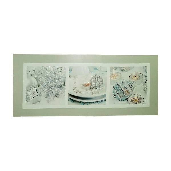 "LED Lighted Shimmering Silver Splendor Christmas Canvas Wall Art 11.75"" x 27.5"""