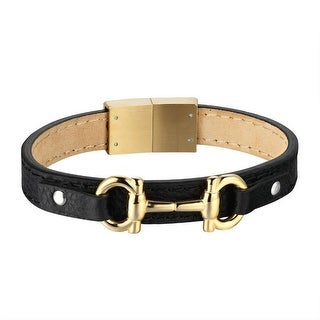 Designer Handcuff Style Bracelet Black Leather Yellow Gold Tone Stainless Steel