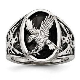 Stainless Steel Polished Enameled Eagle Ring - Sizes 9 - 12