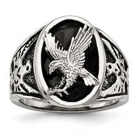 Stainless Steel Polished Enameled Eagle Ring - Sizes 9 - 12