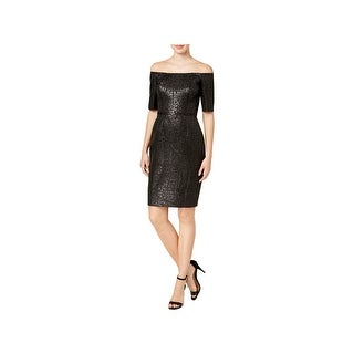 Calvin Klein Womens Petites Cocktail Dress Off-The-Shoulder Mini