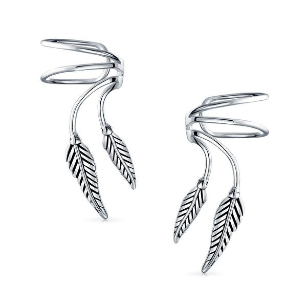 706f9a0f2 Shop 2 Leaf Feather Cartilage Ear Cuffs Clip Wrap Wire Earrings Helix For  Women For Men Non Pierced Ear 925 Sterling Silver - On Sale - Free Shipping  On ...
