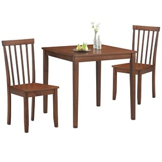 Costway 3-Piece Dining Table Set 2 Slat Back Chairs with Wood Leg