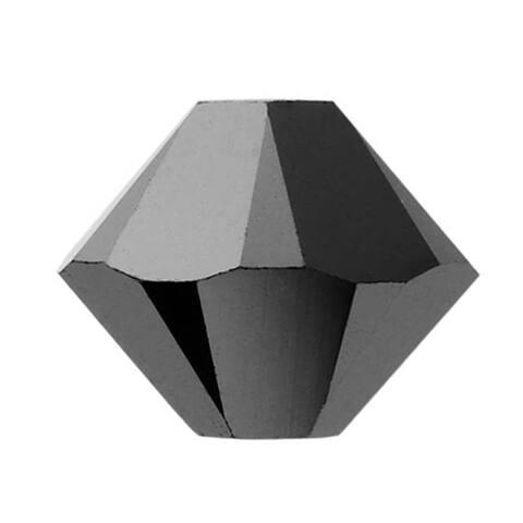 Swarovski Crystal, 5328 Bicone Beads 3mm, 25 Pieces, Jet Hematite 2X