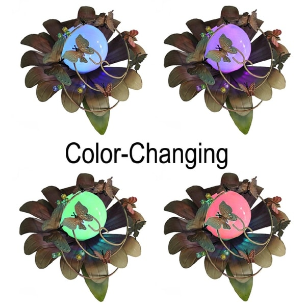 "15"" LED Lighted Color Changing Solar Powered Butterfly Flower Garden Lawn Stake"