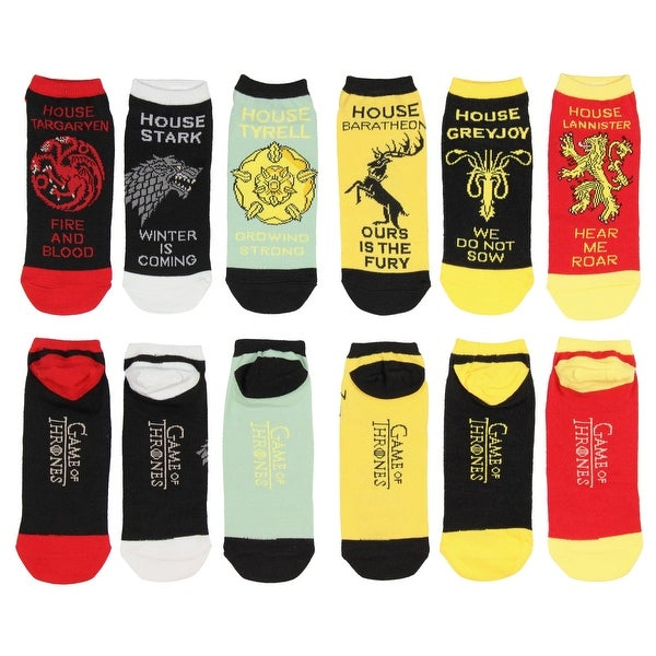 Game of Thrones Adult Noble Houses Motto Socks 6 PK