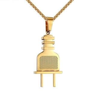 Stainless Steel Switch Plug Designer Pendant 14k Gold Tone Necklace 24 Inch