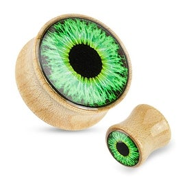 Green Eyeball Print Dome Top Maple Wood Saddle Plug (Sold Individually)