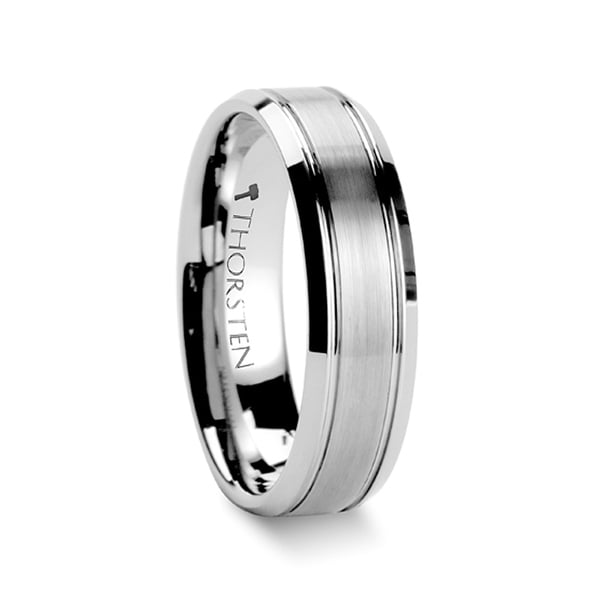 THORSTEN - CRONUS Brushed Center with Polished Bevels Tungsten Wedding Band - 6mm
