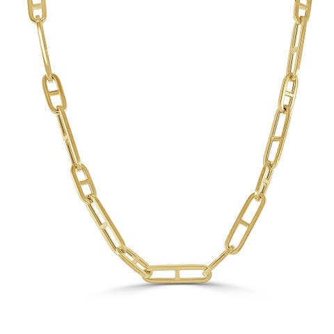 Gold Link Mariner Chain Necklace 11mm 14k Yellow Gold Made in Italy by Joelle Collection