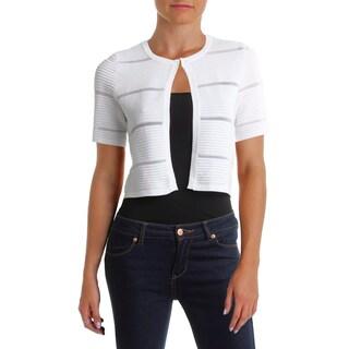 Calvin Klein Womens Petites Cardigan Sweater Striped Crew Neck