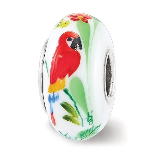 Sterling Silver Reflections Parrot Fenton Glass Bead (4.5mm Diameter Hole)