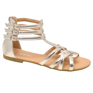 Anna Adult Silver Criss Cross Strap Back Zipper Open Toe Sandals