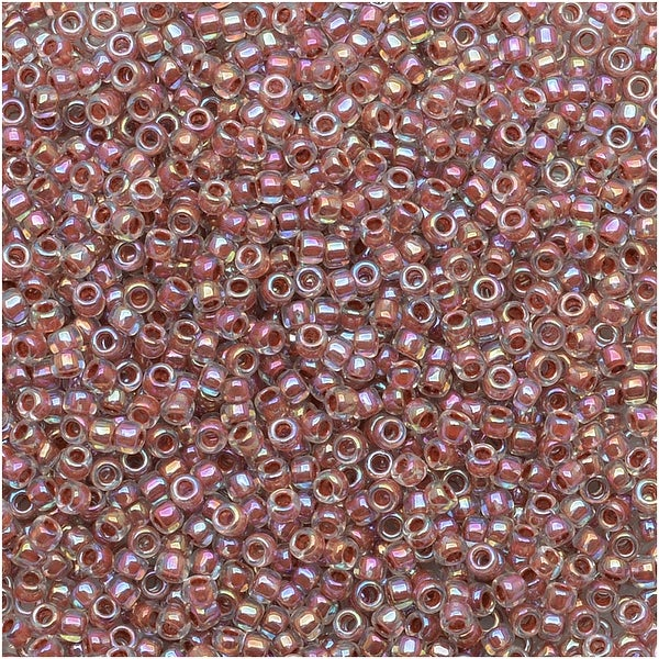 Toho Round Seed Beads 15/0 784 - AB Crystal / Sandstone Lined (8 Grams)
