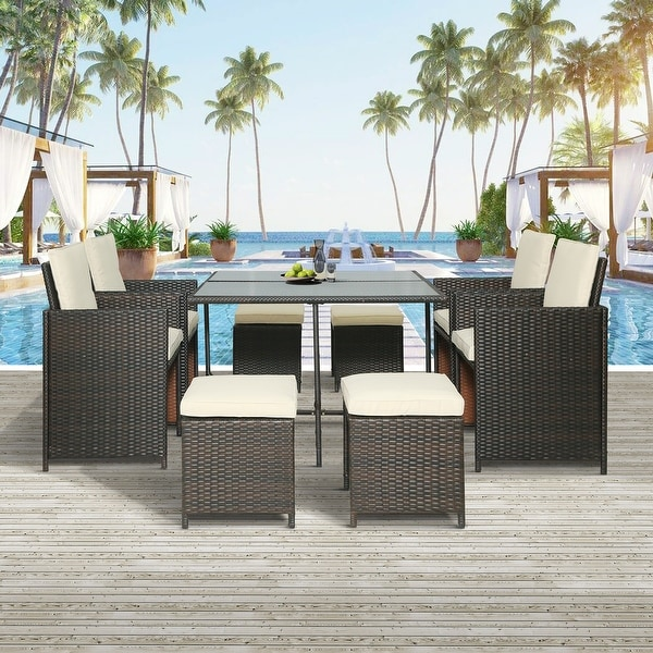 9-Piece Outdoor Rattan Wicker Patio Dining Set with Cushions. Opens flyout.