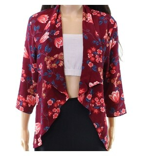 Moa Moa Red Women's Size Large L Floral Print Draped Front Jacket