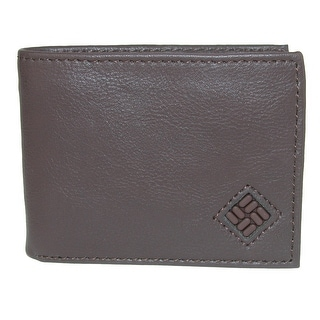 Columbia Men's Leather Extra Capacity Slim Bifold Wallet with Embossed Logo - One size