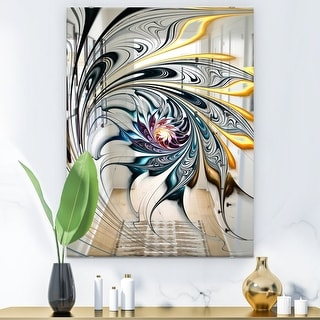 Link to Designart 'White Stained Glass Floral Art' Accent Mirror - White Similar Items in Mirrors