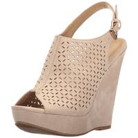 Chinese Laundry Women's Matilda Wedge Sandal, Sand Suede, Size 9.5
