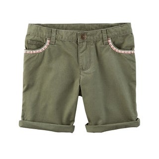 Carter's Girls' Embroidered Twill Shorts- Olive