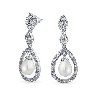 Bling Jewelry Pave CZ Teardrop Imitation Pearl Earrings Rhodium Plated Brass