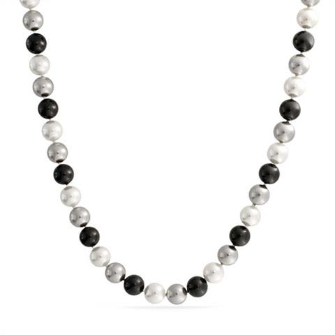 10MM Black White Grey Multi Color Hand Knotted Imitation Pearl Strand Necklace For Women 18 Inches