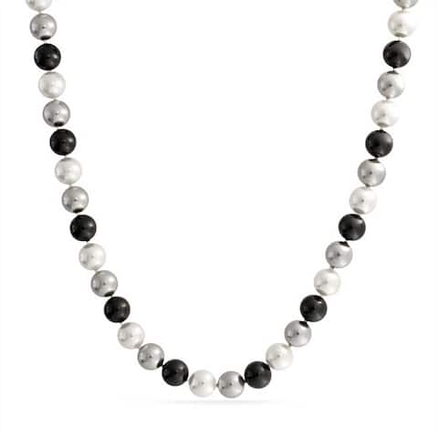 Black White Grey Multi Color Imitation Pearl 10mm Strand Necklace For Women 18 Inches