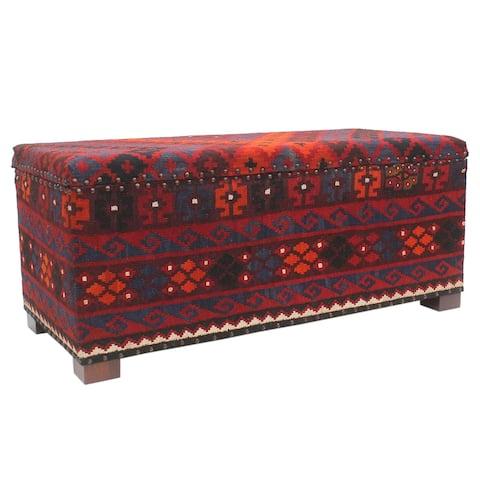 "Vintage Alton Red Blue Kilim Upholstered Storage Settee - 48""x22""x20"""