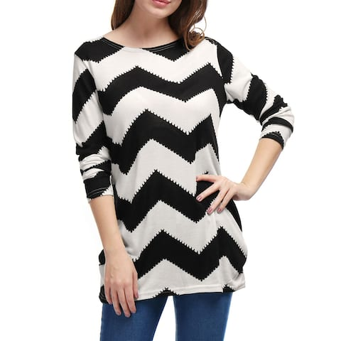 Woman Chevron Pattern Long Sleeves Knitted Relax Fit Tunic Top