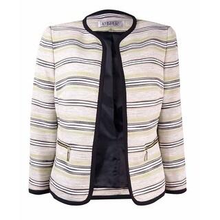 Kasper Women's Tweed Stripe Open Front Blazer - Ivory Multi