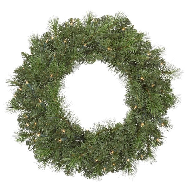 "24"" Pre-Lit Mixed Sierra Pine Artificial Christmas Wreath - Clear Lights"