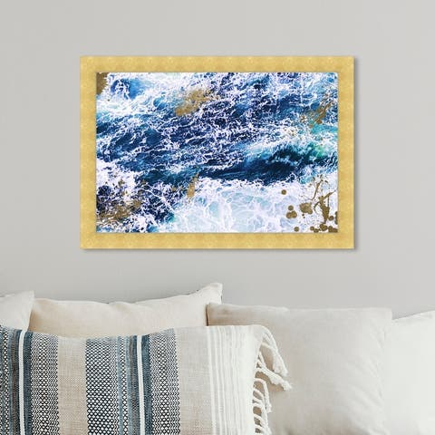 Oliver Gal 'Seas of Gold' Nautical and Coastal Framed Wall Art Prints Coastal - Blue, Gold